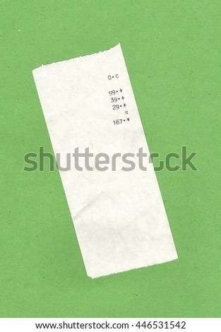 bill or receipt isolated over light green background - stock photo