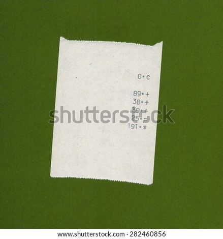 bill or receipt isolated over olive green background - stock photo