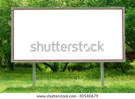 Billboard among greenery - stock photo