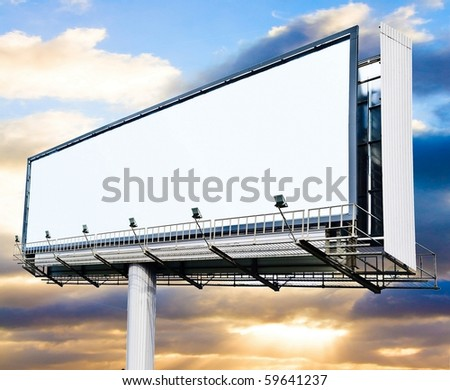 Billboard at sunset - stock photo
