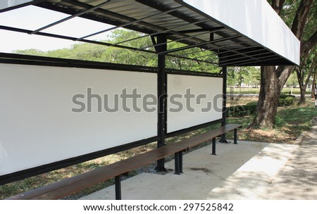 Billboard, banner, empty, white at a bus stop - stock photo