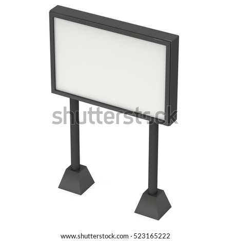 Billboard black for outdoor advertising poster. Trade show booth. 3d render isolated on white background
