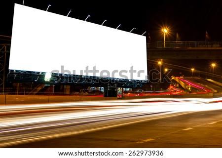 billboard blank for outdoor advertising poster or blank billboard at night time for advertisement. street light .  - stock photo