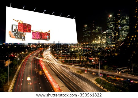 billboard blank for outdoor advertising poster or blank billboard night time for advertisement. or billboard blank street or billboard blank city night light with Christmas decoration billboard. - stock photo