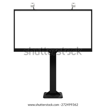Billboard. 3D. City blank billboard [with clipping paths] - stock photo