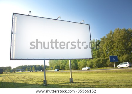 Billboard for advertisement on sky background - stock photo