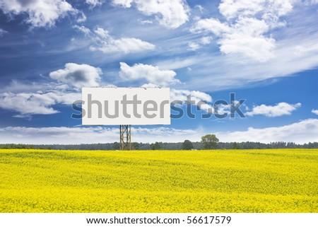 billboard in rapeseed field - stock photo