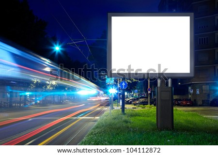 Billboard in the city street, blank screen, clipping path included - stock photo