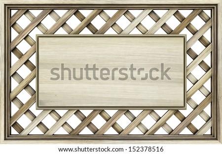 billboard on a wooden lattice. isolated on white. - stock photo