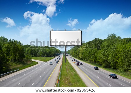 Billboard on American TollWay - stock photo