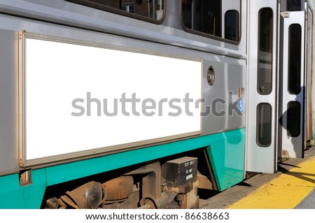 Billboard on streetcar - stock photo