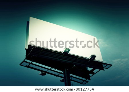 Billboard with creative light - stock photo