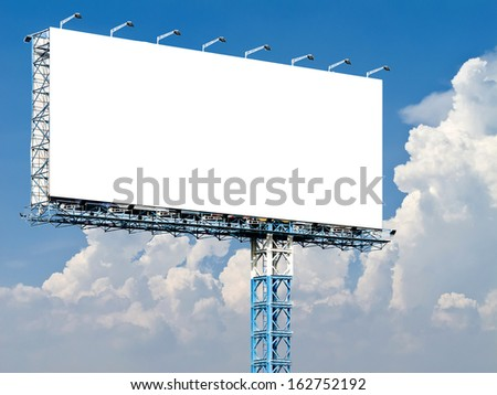 Billboard with empty screen, against blue sky and white cloud - stock photo