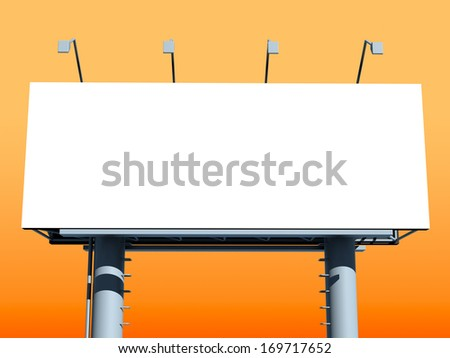 Billboard with empty screen, against orange background - stock photo