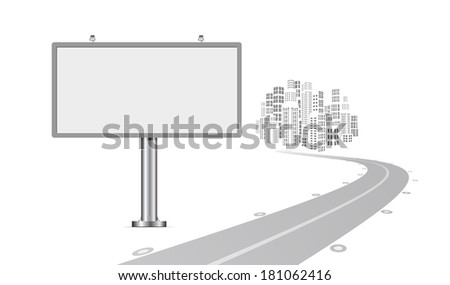 Billboard with urban horizon background - stock photo