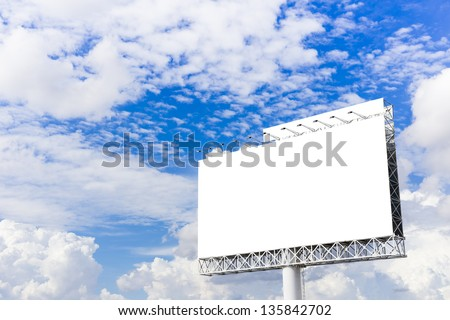 Billboard with white screen, against blue cloudy sky - stock photo
