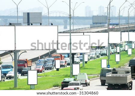 Billboards on Highway - stock photo