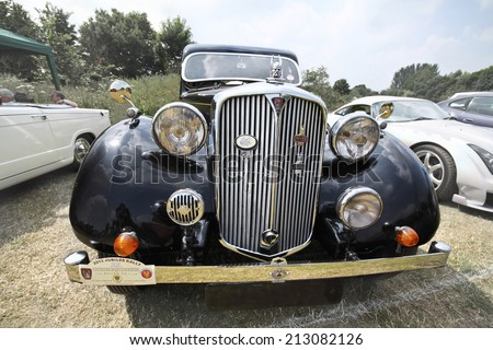 Billericay, Essex, UK - July 2013: Summer fest classic cars show, showed beautiful 1938 Model Rover 14 Saloon.