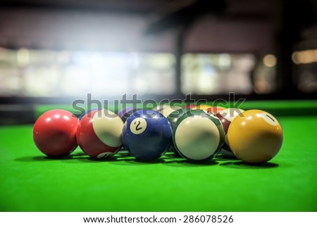 Billiard Balls. A Vintage style photo from a billiard balls in a pool table. Noise added for a film effect