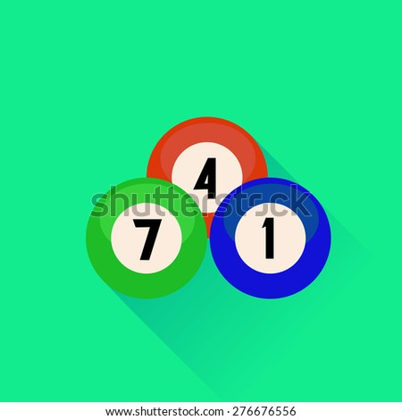 Billiard Balls Icon Isolated on Green Background.