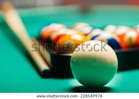 Billiard balls in a pool table. - stock photo
