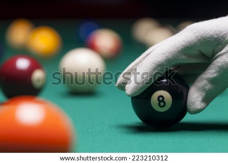 Billiard balls in a pool table. Eight ball