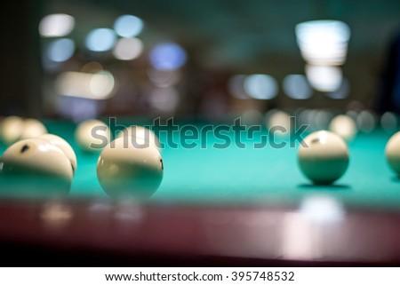 Billiard balls in a table. - stock photo