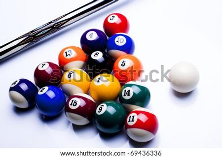Billiard balls isolate on white - stock photo