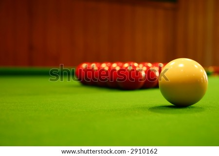 Billiard balls on a green billiard table