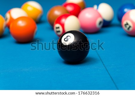 Billiard Balls On Blue Table - Close-Up Of Pool Balls On A Blue Pool Table