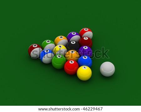 Billiard balls on green pool table cloth. High quality 3d render. - stock photo