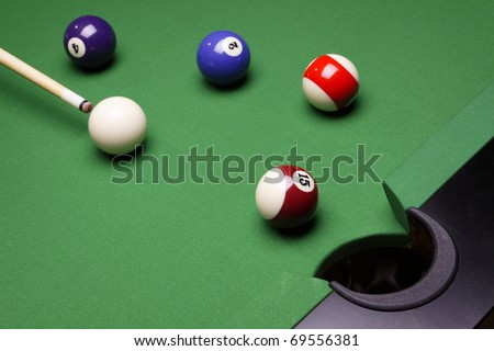 Billiard balls on table, gamins on green table