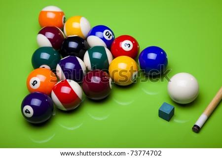 Billiard balls, pool - stock photo