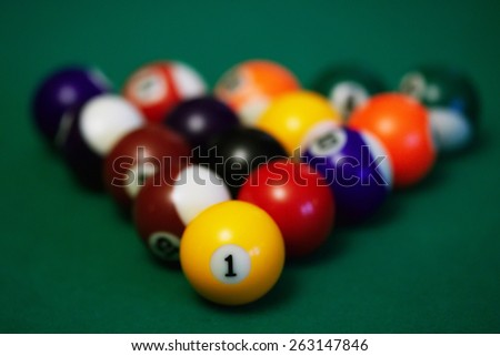 Billiard balls ready to break closeup
