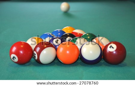 Billiard balls ready to shot, white ball in blurry background