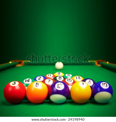 billiard balls  with copy space... - stock photo