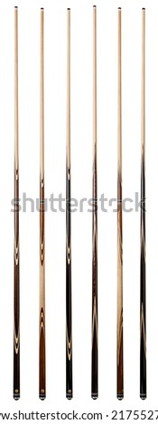 billiard cue sticks on white background - stock photo