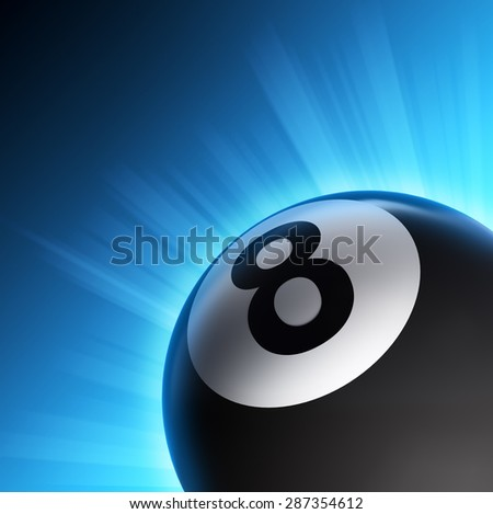 Billiard eight ball, snooker pool icon with shining rays of lights on blue background - stock photo