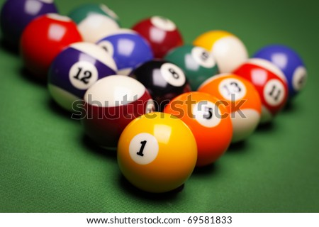 Billiard on table. Perfect composition of pool balls - stock photo