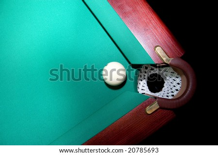 Billiard sphere near an angular billiard pocket