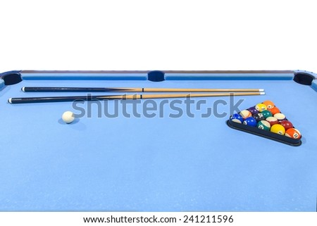 billiard table isolated on white background - stock photo