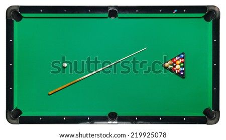 Billiard Table, Top View Isolated White Background. Path Included