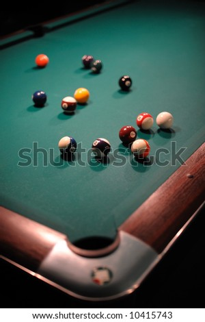 Billiard table with balls
