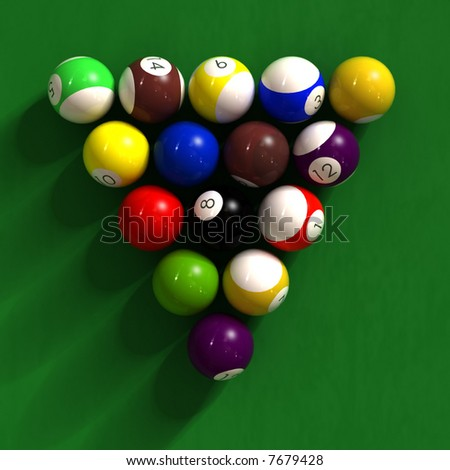 billiard table with balls - photorealistic 3d render - stock photo
