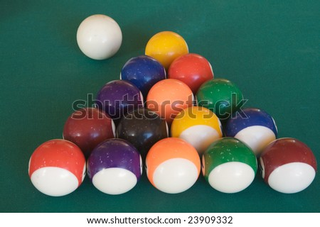 Billiard-table with fifteen balls arranged as triangle