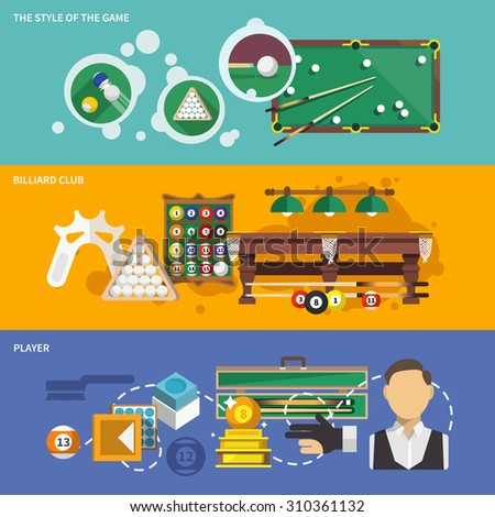 Billiards banner set with style of game club and player isolated  illustration - stock photo