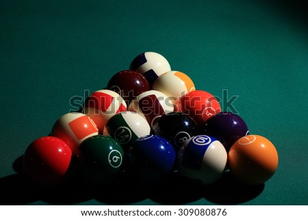 billiards, billiard balls on the table