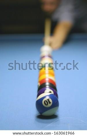 Billiards (billiard or pool) table, shallow DOF - stock photo