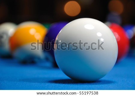 Billiards - Cue ball with other balls - stock photo