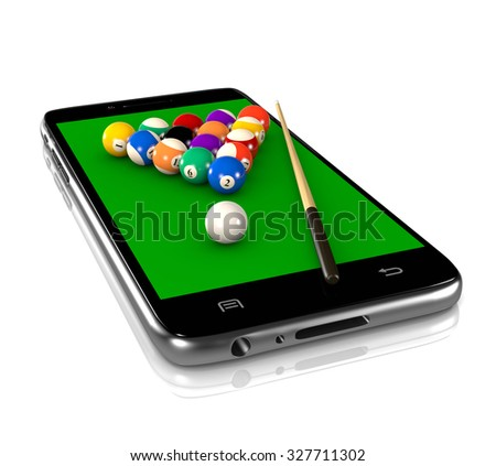 Billiards Game Field with Balls and Cue on Smartphone Display 3D Illustration on White Background, Sport and Game App - stock photo
